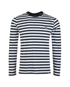 Pretty Green Mens Blue L/S S tripe Tee