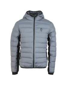 Gym King Mens Grey Core Puffa Hooded Jacket