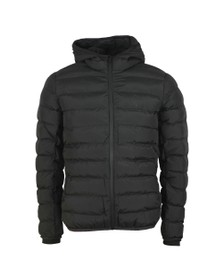 Gym King Mens Black Core Puffa Hooded Jacket