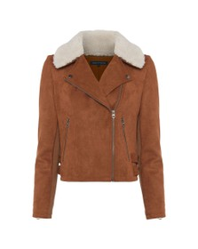 French Connection Womens Brown Amaranta Shearling Suedette Jacket
