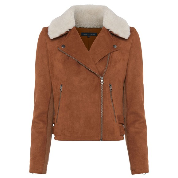 French Connection Womens Brown Amaranta Shearling Suedette Jacket main image