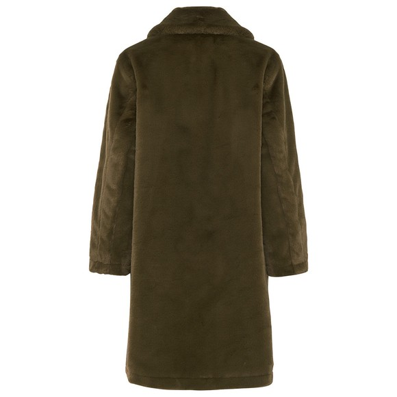 French Connection Womens Green Buona Faux Fur Long Coat main image