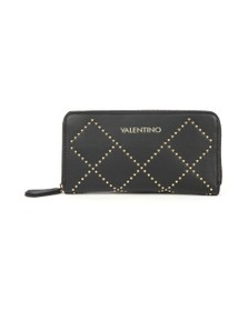 Valentino by Mario Womens Black Mandolino Zip Around Wallet
