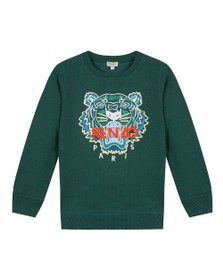 Kenzo Kids Boys Green Embroidered Tiger Sweatshirt