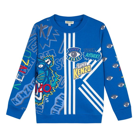 Kenzo Kids Boys Blue Goddard Super Kenzo Sweatshirt