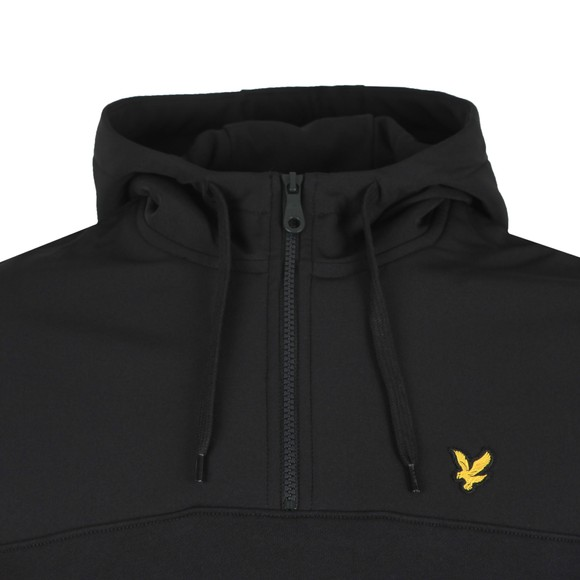 Lyle and Scott Mens Black Softshell Jersey Half Zip Hood main image