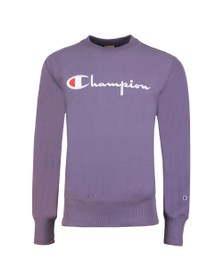 Champion Reverse Weave Mens Purple Script Logo Sweatshirt