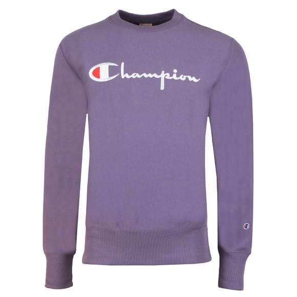 Champion Reverse Weave Mens Purple Script Logo Sweatshirt