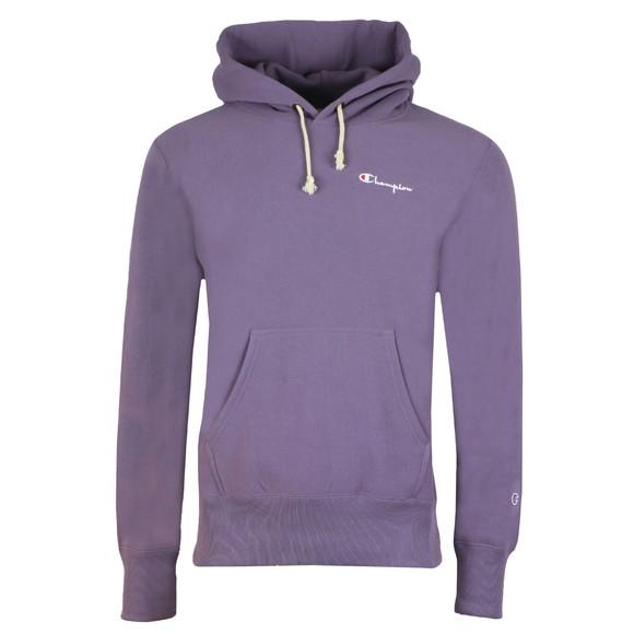 Champion Reverse Weave Mens Purple Small Logo Overhead Hoody