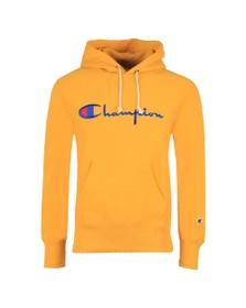 Champion Reverse Weave Mens Yellow Script Logo Overhead Hoody