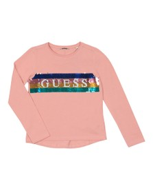 Guess Girls Pink Sequin Logo T Shirt