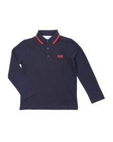 BOSS Boys Blue J25E35 Tipped Long Sleeve Polo Shirt