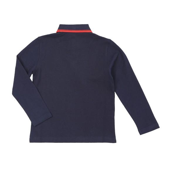 BOSS Boys Blue J25E35 Tipped Long Sleeve Polo Shirt main image