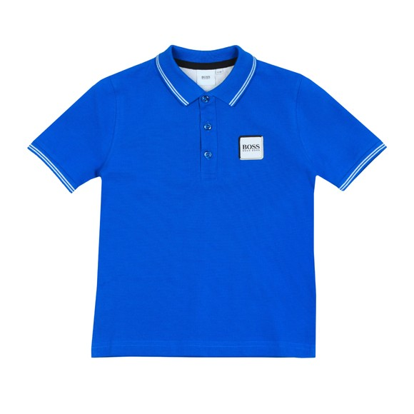 BOSS Boys Blue Boys J25E34 Square Badge Polo Shirt main image