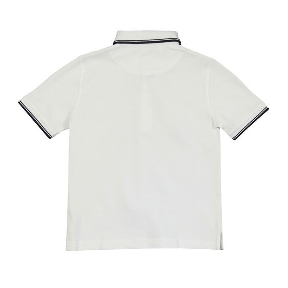 BOSS Boys White Boys J25P17 Tipped Polo Shirt main image