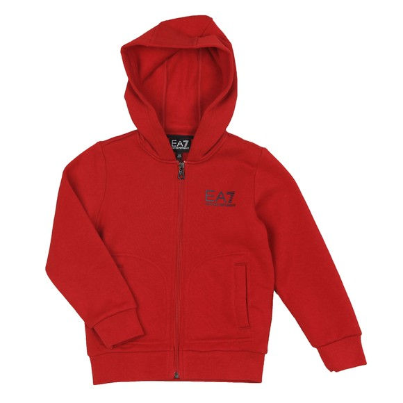 EA7 Emporio Armani Boys Red Small Logo Fleece Hoody