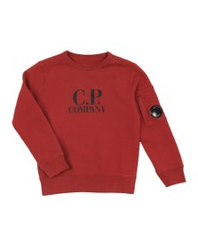 C.P. Company Undersixteen Boys Red Chest Logo Crew Sweatshirt