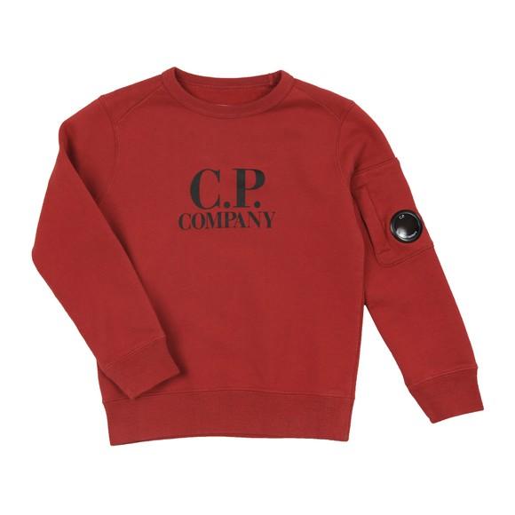 C.P. Company Undersixteen Boys Red Chest Logo Crew Sweatshirt main image