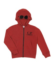 C.P. Company Undersixteen Boys Red Full Zip Goggle Hoody
