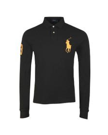 Polo Ralph Lauren Mens Black Contrast Collar Long Sleeve Big Polo Player Polo Shirt