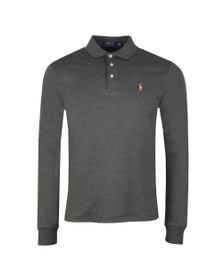 Polo Ralph Lauren Mens Grey Long Sleeve Slim Fit Pima Cotton Polo Shirt