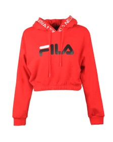 Fila Womens Red Mathilde Logo Crop Hoody