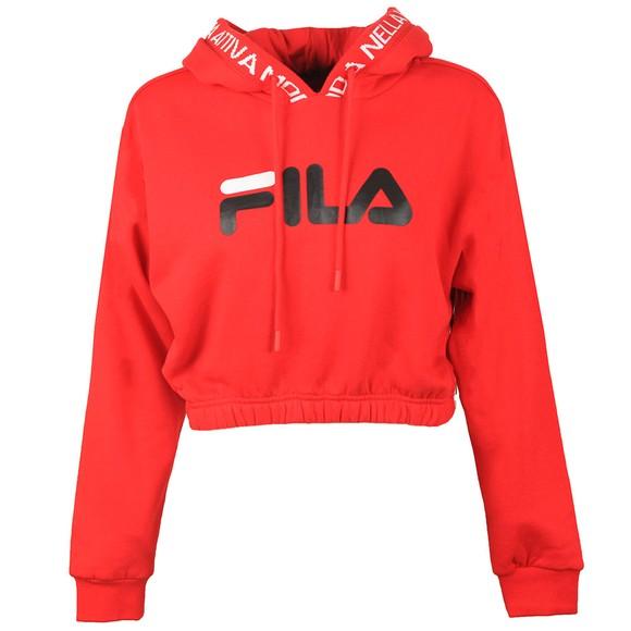 Fila Womens Red Mathilde Logo Crop Hoody