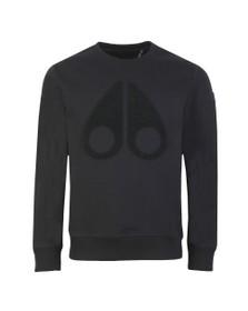 Moose Knuckles Mens Black Logo Sweatshirt