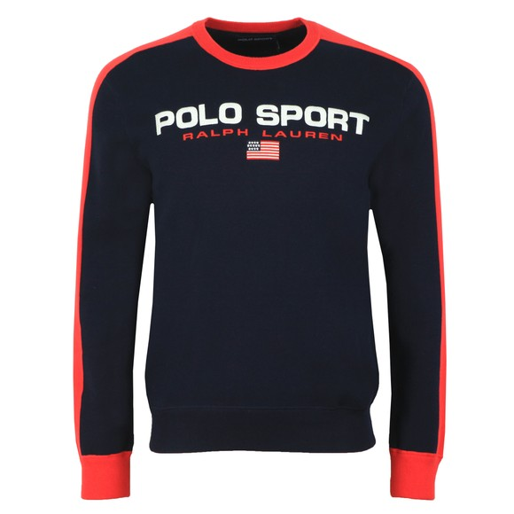 Polo Ralph Lauren Sport Mens Blue Large Logo Knitted Jumper