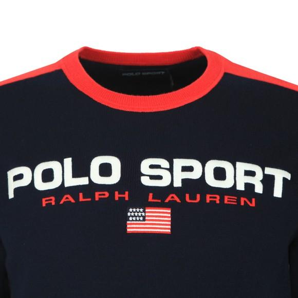 Polo Sport Ralph Lauren Mens Blue Large Logo Knitted Jumper