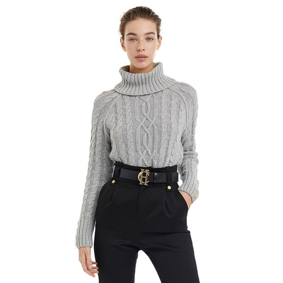 Holland Cooper Womens Grey Portland Cable Knit Jumper main image