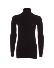 Holland Cooper Womens Black Button Stripe Roll Neck