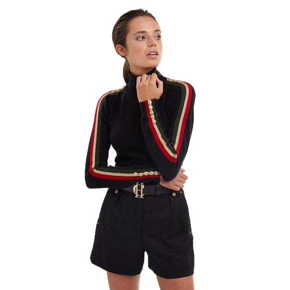 Holland Cooper Womens Black Button Stripe Roll Neck  main image