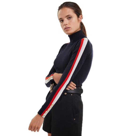 Holland Cooper Womens Blue Button Stripe Roll Neck  main image
