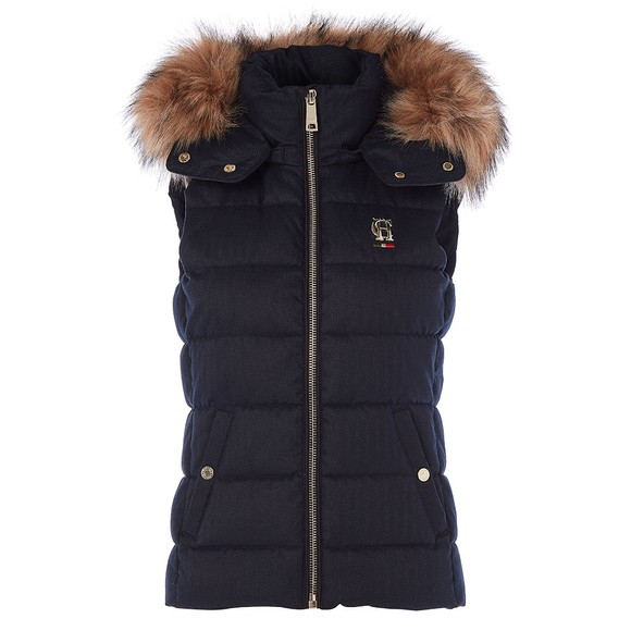 Holland Cooper Womens Blue Heritage Faux Fur Gilet