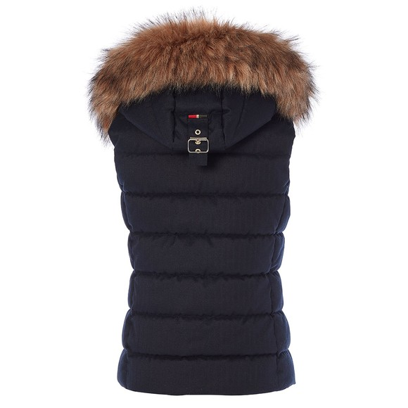 Holland Cooper Womens Blue Heritage Faux Fur Gilet main image