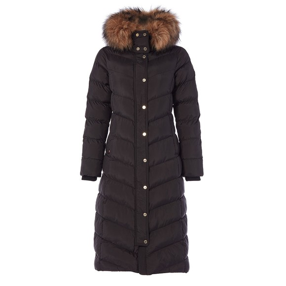 Holland Cooper Womens Black Longline Glacier Puffer Jacket main image
