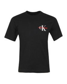 Calvin Klein Jeans Mens Black Monogram Embro T-Shirt