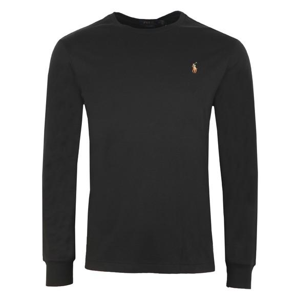 Polo Ralph Lauren Mens Black Custom Slim Fit Long Sleeve Pima Cotton T Shirt