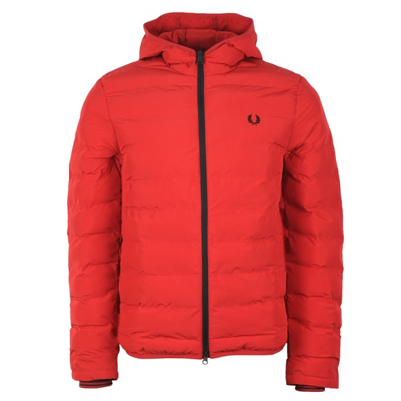 Fred Perry Mens Red Insulated Hooded Jacket