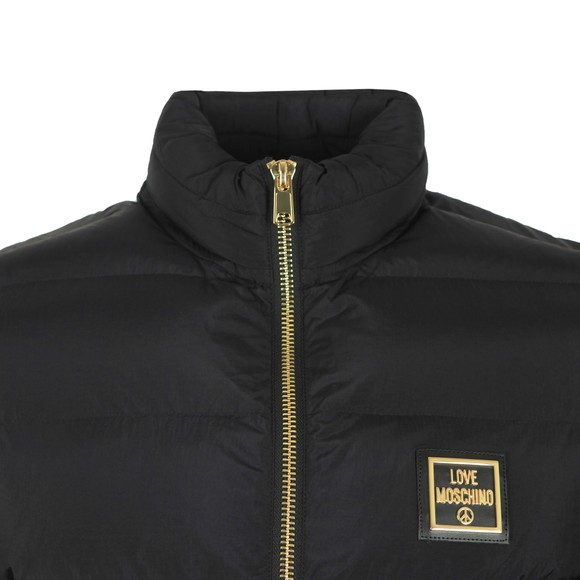 Love Moschino Mens Black Metallic Square Puffer Jacket