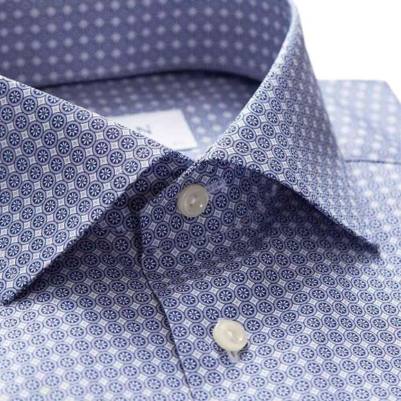 Eton Mens Blue Circle Pattern Shirt main image