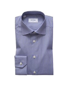 Eton Mens Blue Circle Pattern Shirt