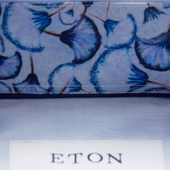 Eton Mens Blue Signature Twill Flower Detail Shirt main image
