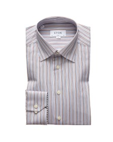 Eton Mens Blue Signature Twill Stripe Shirt