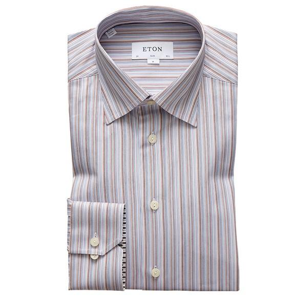 Eton Mens Blue Signature Twill Stripe Shirt