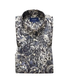 Eton Mens Grey Large Floral Pattern Shirt