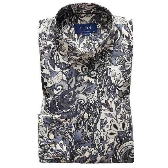 Eton Mens Grey Large Floral Pattern Shirt main image