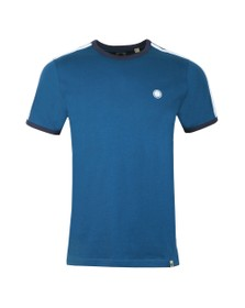 Pretty Green Mens Blue Contrast Panel T-Shirt