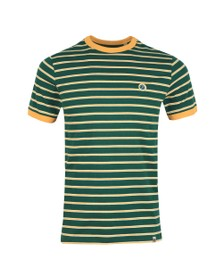 Pretty Green Mens Green Striped T-Shirt